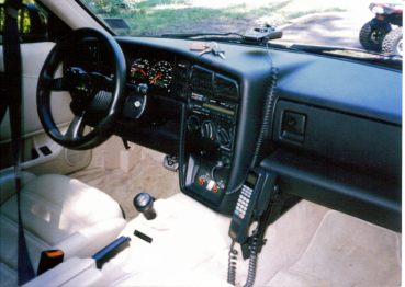 My 1993 Black Corrado SLC interior with hard mount Oki phone