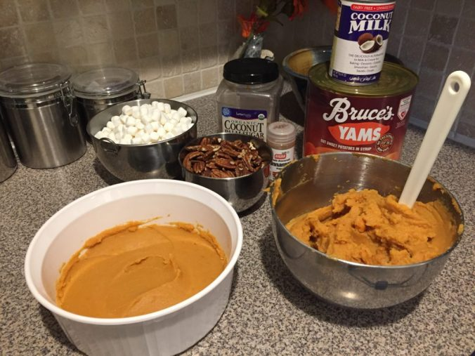 Everything you need to make a Thanksgiving sweet potato casserole