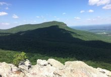 A Dad and his 2 girls climb the mountain - Hanging Rock NC