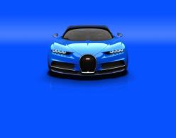 Blue Bugatti Chiron front end